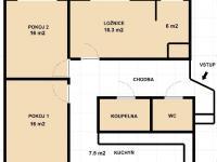 půdorys (Prodej bytu 3+1 v družstevním vlastnictví 79 m², Plzeň)