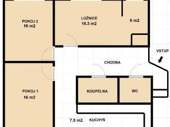 půdorys - Prodej bytu 3+1 v osobním vlastnictví 79 m², Plzeň