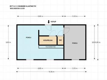 byt půdorys - Prodej bytu 2+1 v osobním vlastnictví 53 m², Plzeň