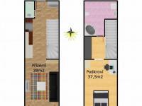Půdorys 2D (Prodej bytu 2+kk v osobním vlastnictví 67 m², Brno)