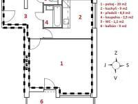 půdorys (Pronájem bytu 1+1 v osobním vlastnictví 41 m², Brno)
