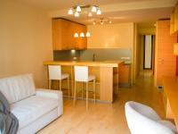 Obytná místnost s kuchyňským koutem (Prodej bytu 1+kk v osobním vlastnictví 32 m², Praha 9 - Vysočany)