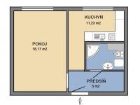 Půdorys (Pronájem bytu 1+1 v osobním vlastnictví 35 m², Brno)