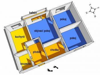 půdorys - Prodej bytu 3+1 v osobním vlastnictví 73 m², Brno