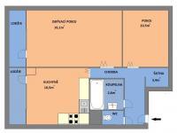 Půdorys bytu - Prodej bytu 2+1 v osobním vlastnictví 51 m², Brno