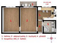 půdorys - Prodej bytu 2+1 v osobním vlastnictví 55 m², Brno