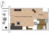 Prodej bytu 1+kk v osobním vlastnictví, 36 m2, Pohořelice