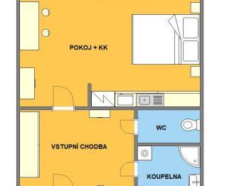 Půdorys - Prodej bytu 1+kk v družstevním vlastnictví 32 m², Brno