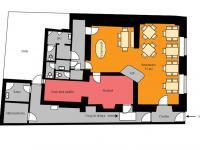 Orientační půdorys objektu - Prodej restaurace 130 m², Nymburk