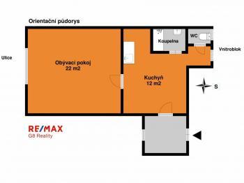Orientační půdorys - Prodej bytu 2+kk v osobním vlastnictví 37 m², Nymburk
