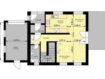 PŮDORYS PŘÍZEMÍ - Prodej domu v osobním vlastnictví 140 m², Hradištko