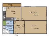 Půdorys (Prodej bytu 2+1 v družstevním vlastnictví 66 m², Ostrava)