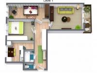 Půdorys 3D (Prodej bytu 3+1 v osobním vlastnictví 67 m², Ostrava)