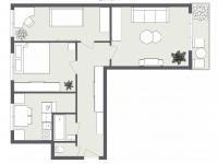 Půdorys 2D (Prodej bytu 3+1 v osobním vlastnictví 67 m², Ostrava)