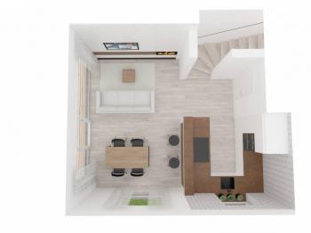 Pohled do denní místnosti s kuchyní , jídelní části a klidovou částí - Prodej domu v osobním vlastnictví 145 m², Jeseník