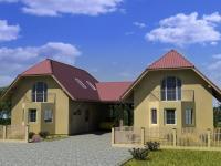 Studie - pohled na dvojdomek, projekt. (Prodej domu v osobním vlastnictví 148 m², Blatná)