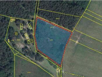 Umístění pozemku - Prodej pozemku 5729 m², Slabčice