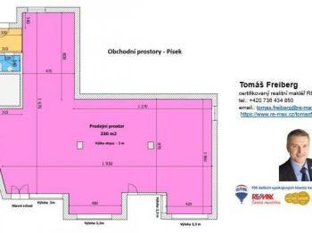 Půdorys - Pronájem obchodních prostor 230 m², Písek