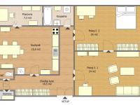 Půdorys bytu (Prodej bytu 2+1 v osobním vlastnictví 111 m², Strakonice)