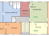 Půdorys kanceláří ve 2.NP (Pronájem kancelářských prostor 90 m², Písek)