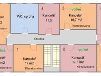 Půdorys 3.NP - označení kanceláří (Pronájem kancelářských prostor 24 m², Písek)