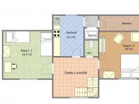 Půdorys 2.NP - podkroví - Prodej domu v osobním vlastnictví 153 m², Chanovice