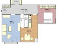 Půdorys bytu (Prodej bytu 2+1 v osobním vlastnictví 65 m², Strakonice)