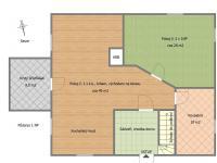 1NP - půdorys, skutečný stav (Prodej domu v osobním vlastnictví 172 m², Mrákov)