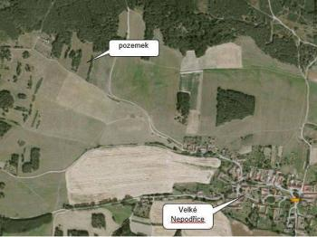 Umístění pozemku - Prodej pozemku 6626 m², Dobev
