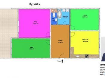 Půdorys - Prodej bytu 4+kk v osobním vlastnictví 110 m², Tábor