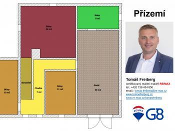 Půdorys - přízemí - Prodej domu v osobním vlastnictví 320 m², Heřmaň