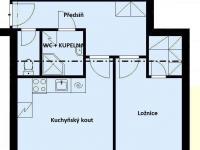 ul. B Smetany - Č. Budějovice 3, byt 2+kk - půdorys - Pronájem bytu 2+kk v osobním vlastnictví 60 m², České Budějovice