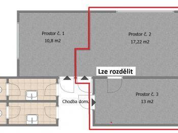 Půdorys prostor k pronájmu  - Pronájem kancelářských prostor 30 m², Strakonice