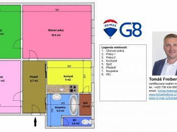 Půdorys  - Pronájem bytu 3+1 v osobním vlastnictví 72 m², Písek