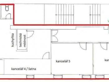 Cena za levý uzavřený prostor je + energie. Cena za jednotlivou kancelář vpravo na plánku je 3 000,-Kč + energie  - Pronájem kancelářských prostor 93 m², České Budějovice