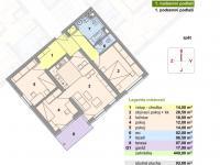 půdorys (Prodej bytu 4+kk v osobním vlastnictví 93 m², Ostrava)