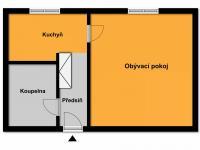 Půdorys (Prodej bytu 1+1 v osobním vlastnictví 49 m², Roztoky)