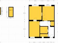 půdorys bytu (Prodej bytu 2+1 v osobním vlastnictví 66 m², Praha 6 - Ruzyně)