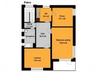 orientační plánek 1. patra (Prodej domu v osobním vlastnictví 213 m², Roztoky)