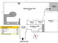 plánek bytu (Prodej bytu 2+kk v osobním vlastnictví 74 m², Praha 2 - Vinohrady)