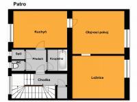 orientační plánek 1. patra (Prodej domu v osobním vlastnictví 218 m², Praha 6 - Břevnov)