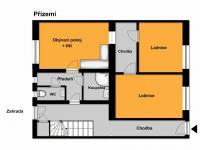 orientační plánek přízemí (Prodej domu v osobním vlastnictví 218 m², Praha 6 - Břevnov)