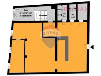 orientační plánek hlavního prostoru - Prodej komerčního objektu 223 m², Roztoky