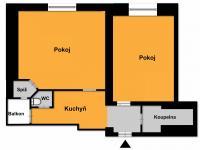 Půdorys - Prodej bytu 2+1 v osobním vlastnictví 68 m², Praha 7 - Holešovice
