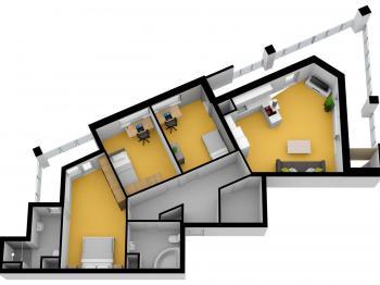 celková plocha 135 m2 + GS - Prodej bytu 4+kk v osobním vlastnictví 100 m², Praha 5 - Zličín