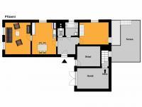 půdorys přízemí - Prodej domu v osobním vlastnictví 170 m², Mělník