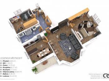 Půdorys - Prodej bytu 3+1 v osobním vlastnictví 118 m², Praha 4 - Lhotka
