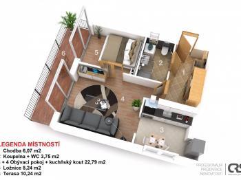 Půdorys - Prodej bytu 2+kk v osobním vlastnictví 41 m², Praha 4 - Modřany