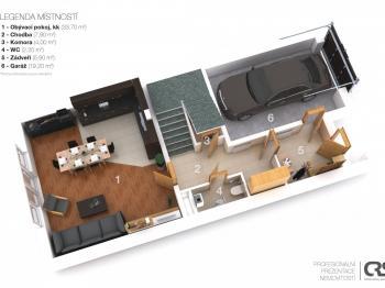 Půdorys 1. NP - Prodej bytu 6+kk v osobním vlastnictví 214 m², Dolní Břežany