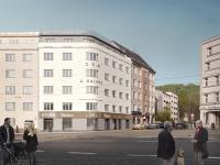 pohled na dům (Prodej bytu 1+kk v osobním vlastnictví 36 m², Praha 9 - Vysočany)
